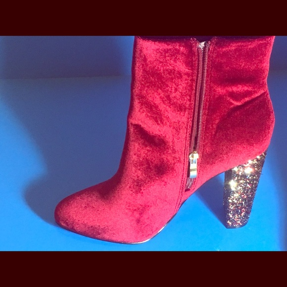 ccb9ca7a7958 Neiman Marcus Red Velvet Glitter Boots 10 NWT